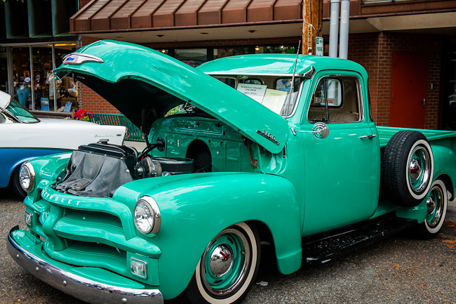 1954 Chevy 3100 Pickup with hood open