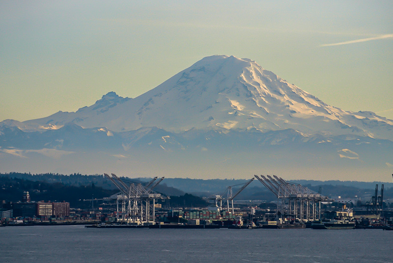 Mt. Rainier rising over the Port of Seattle