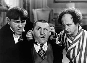 Larry Fine (right) with Moe Howard and Curly H...