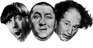 Official Three Stooges logo. L to R: Moe Howar...